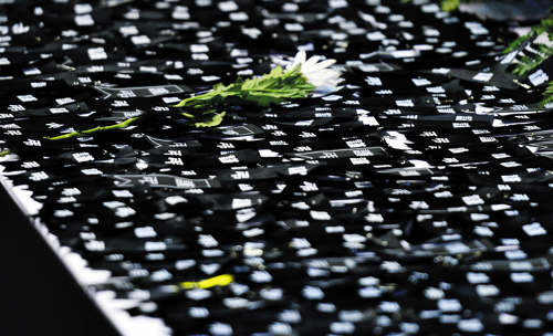 Black ribbons are laid at a memorial altar for the victims of the ferry disaster set up in Ansan, Gyeonggi Province on Sunday. /News 1