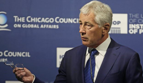 Secretary of Defense Chuck Hagel speaks about strategic priorities to the Chicago Council on Global Affairs on May 6, 2014. /AP
