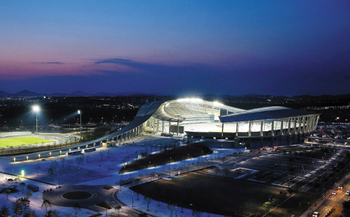 The main stadium for the 2014 Incheon Asian Games is lit up on Tuesday night.