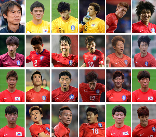 Left to right, top to bottom: Manager Hong Myung-bo, goalkeepers Jung Sung-ryong, Kim Seung-gyu, Lee Bum-young; defenders Lee Yong, Kim Chang-soo, Kim Jin-soo, Yoon Suk-young, Kim Young-gwon, Hwang Seok-ho, Hong Jeong-ho, Kwak Tae-hwi; midfielders Ki Sung-yueng, Park Jong-woo, Ha Dae-sung, Han Kook-young, Son Heung-min, Kim Bo-kyung; strikers Park Chu-young, Koo Ja-cheol, Kim Shin-wook, Lee Keun-ho; midfielders Ji Dong-won, Lee Chung-yong /Newsis