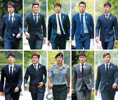 Left to right, top to bottom: Manager Hong Myung-bo, Jung Sung-ryong, Lee Bum-young, Kim Shin-wook, Park Chu-young, Ki Sung-yueng, Lee Chung-yong, Lee Keun-ho, Lee Yong, Kim Seung-gyu