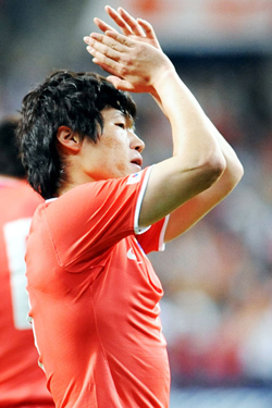 Park Ji-sung reacts after scoring a goal at a preliminary 2010 World Cup qualifying match against Jordan held in Seoul in May 2008.