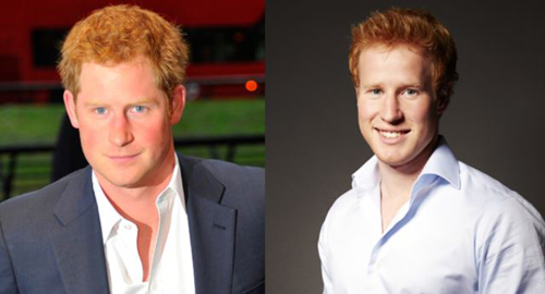 The real Prince Harry (left) in London earlier this month; Prince Harry lookalike and star of the reality dating show,