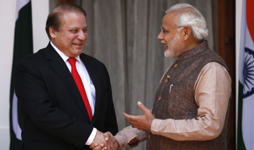 Sharif before the start of their meeting in New Delhi, India on May 27, 2014. /AP