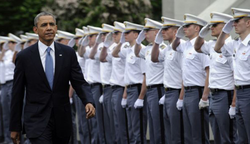 President Barack Obama arrives to deliver the commencement address to the U.S. Military Academy at West Points Class of 2014 in West Point, N.Y. on May 28, 2014. /AP