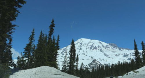 Mount Rainier is seen from the road to Paradise Visitor Center at Mt. Rainier National Park on June 1, 2014. /AP