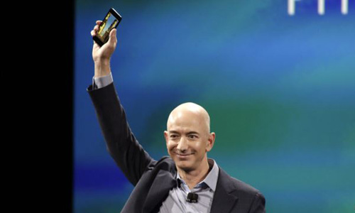 Amazon CEO Jeff Bezos shows off the new