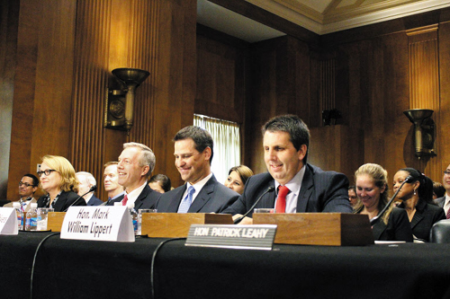 Mark Lippert (right), ambassador-nominee to Seoul, attends a Senate confirmation hearing in Washington on Tuesday.