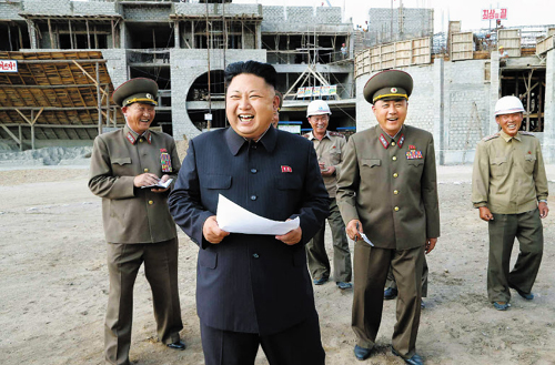 North Korean leader Kim Jong-un visits a building site in Pyongyang in this photo released by the Rodong Sinmun daily on Wednesday.