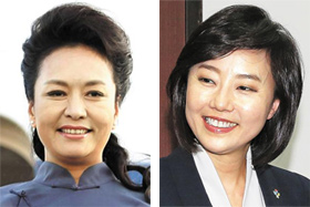 Peng Liyuan (left) and Cho Yoon-sun