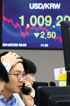 An electronic board at Korea Exchange Bank in Myeong-dong, Seoul shows the won strengthening to 1009.20 against the greenback on Wednesday. /News 1