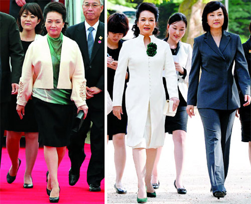 Left: Chinese first lady Peng Liyuan arrives at an airport in Seongnam, Gyeonggi Province on Thursday.; Right: Chinese first lady Peng Liyuan (left), along with Cho Yoon-sun, the senior presidential secretary for political affairs, arrives at Changdeok Palace in Seoul on Thursday.