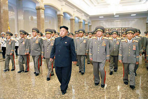 North Korean leader Kim Jong-un pays a visit to the Kumsusan Palace of the Sun in Pyongyang on Tuesday to mark the 20th anniversary of the death of nation founder Kim Il-sung. /Rodong Sinmun