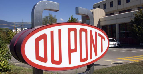 A DuPont logo is pictured on the research center in Meyrin near Geneva. /Reuters