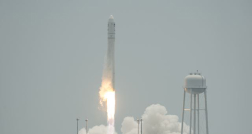 The Orbital Sciences Corporation Antares rocket launches with the Cygnus spacecraft on board from NASAs Wallops Flight Facility on Wallops Island, Virginia on July 13, 2014. /AP