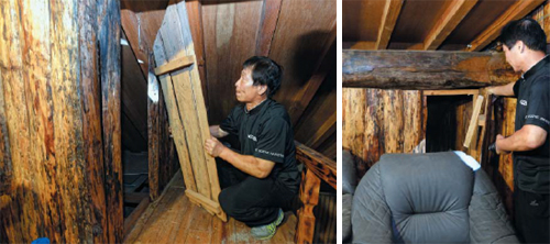 The secret compartment of the cottage where ferry owner Yoo Buyng-eon was hiding when police raided it on May 25. There was another cubbyhole on the other side where two bags containing cash were found.