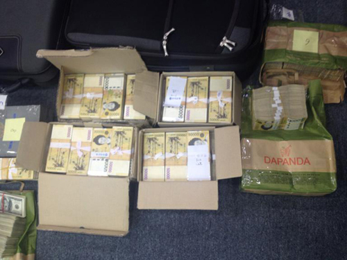 Boxes of cash found in two bags in the cottage where ferry owner Yoo Byung-eon was hiding in Suncheon, South Jeolla Province.