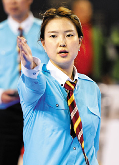 Park Soo-kyung judges a match at the National Sports Festival in this photo taken on Oct. 16, 2012.