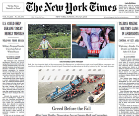The front page of the New York Times with an article about the life and death of ferry owner Yoo Byung-eon