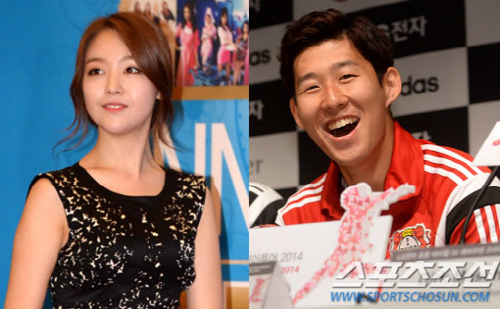 Min-ah of K-pop band Girls Day (left) and Son Heung-min
