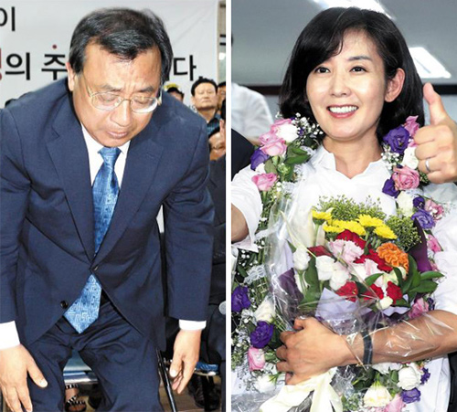 Left: Lee Jung-hyun of the Saenuri Party tries to bow to his supporters after his victory in the by-elections on Wednesday.; Right: Na Kyung-won of the same party smiles after her victory in the by-elections on Wednesday.