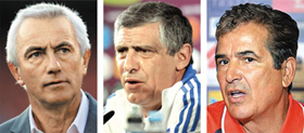 From left, Bert van Marwijk, Fernando Santos and Jorge Luis Pinto