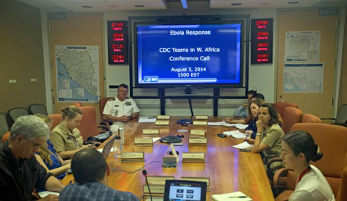 U.S. Centers for Disease Control and Prevention officials during a conference call on Ebola with CDC team members deployed in West Africa from the agencys Emergency Operations Center in Atlanta on Aug. 5, 2014. /AP