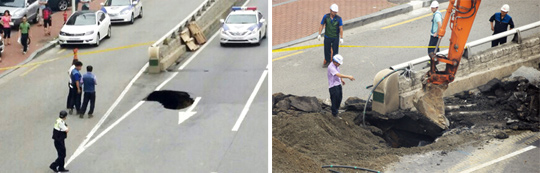 Left: Police block traffic as a sinkhole formed in Songpa district in Seoul on Tuesday; Right: City officials pour soil into the hole. /Newsis