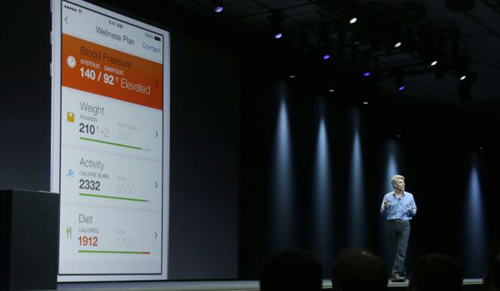 Apple senior vice president of Software Engineering Craig Federighi speaks about the Apple HealthKit app at the Apple Worldwide Developers Conference in San Francisco on June 2, 2014. /AP