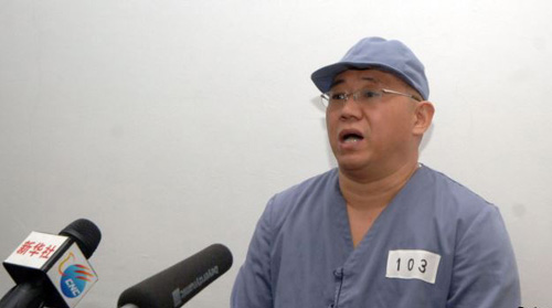 Kenneth Bae appears before reporters in Pyongyang in this undated photo released by North Koreas Central News Agency on Jan. 20, 2014. /Reuters