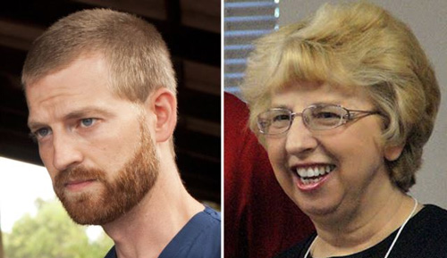 A combination photo shows Dr. Kent Brantly (left) and Nancy Writebol. /AFP
