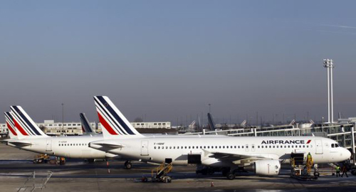 Air France planes are parked on the tarmac at Paris Charles de Gaulle airport in Roissy, near Paris on Feb. 7, 2012. /AP