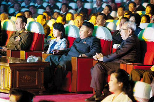 North Korean leader Kim Jong-un and his wife Ri Sol-ju watch a concert in Pyongyang on Sept. 3, in this file photo from the official Rodong Sinmun daily.