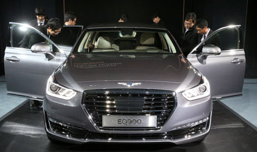 hyundai unveils 1st luxury car under genesis brand the chosun ilbo english edition daily. Black Bedroom Furniture Sets. Home Design Ideas