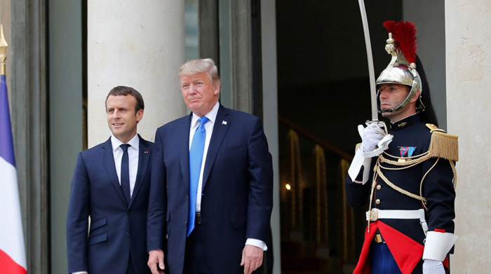 Macron and Trump extol similarities during Trump's visit to Paris