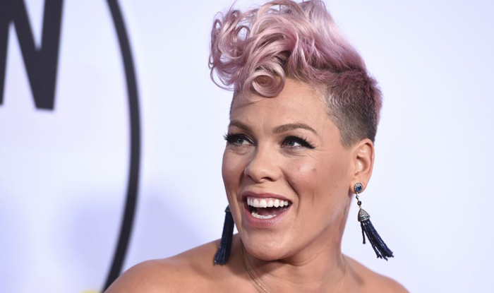 Pink arrives at the American Music Awards at the Microsoft Theater in Los Angeles on Nov. 19 2017. /AP