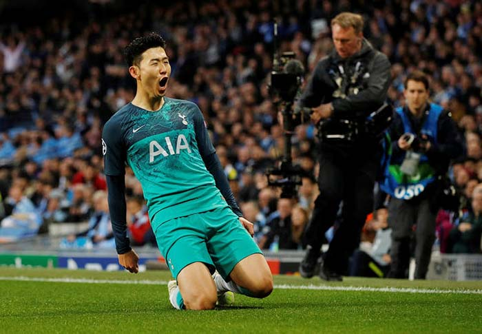 brand new 9139a ddf2d Son Heung-min Scores Twice to Help Spurs Reach Champions ...